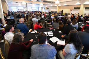 Chancellor Jeffrey Vitter shares the State of the University address with a standing-room-only crowd at the 2017 UM Town Hall. Photo by Robert Jordan/Ole Miss Communications