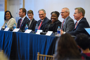 Panelists enjoy a laugh during the 2017 UM Town Hall. Photo by Robert Jordan/Ole Miss Communications