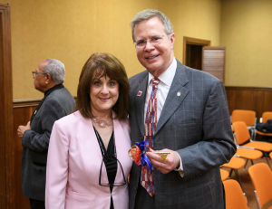 Chancellor and woman with a key