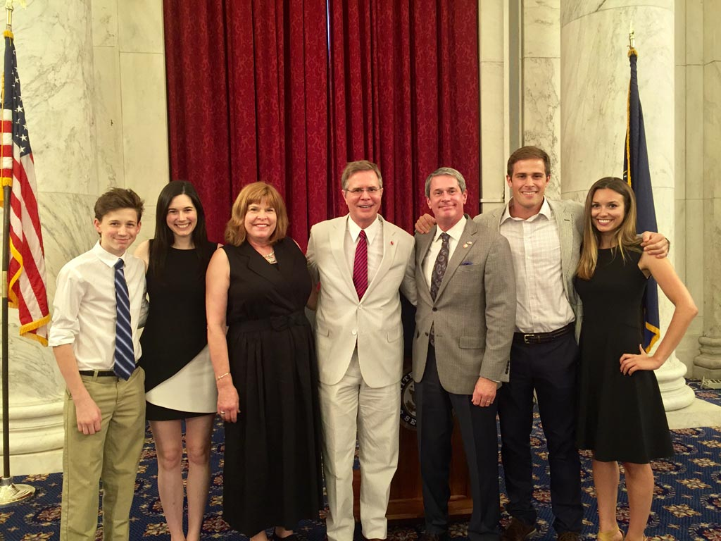 Chancellor Vitter and his wife amongst a smiling group
